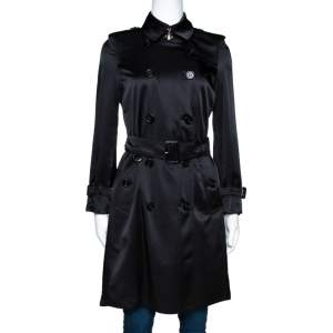 Burberry Black Silk Belted Kensington Trench Coat XS