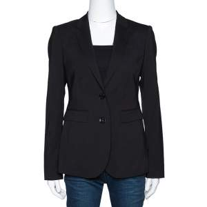Burberry London Black Stretch Wool Single Button Tailored Blazer S