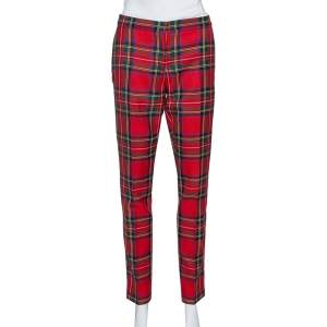 Burberry Red Tartan Check Wool Tailored Trousers L
