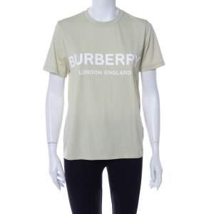 Burberry Pale Green Cotton Shotover Logo Print T Shirt M