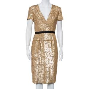 Burberry Vintage Gold Sequined V Neck Sheath Dress S