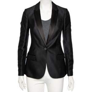 Burberry Black Textured Silk & Satin Trimmed Single Breasted Tuxedo S