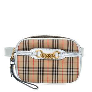 Burberry Silver/Beige Haymarket Check Canvas and Leather Link Bum Belt Bag
