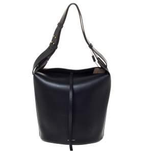 Burberry Black Leather Large Bucket Bag