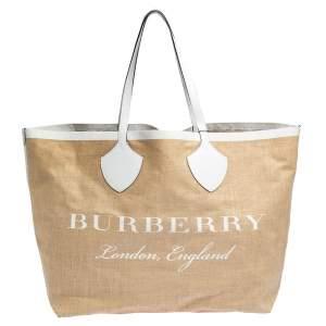 حقيبة بربري أول جاينت جلد وجوت بيج/أبيض