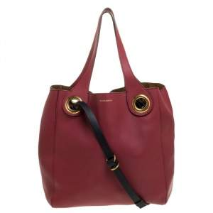 Burberry Crimson Red Leather Medium Grommet Detail Tote