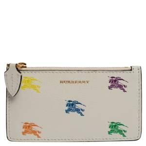 Burberry White/Blue Leather Equestrian Knight Zip Card Holder
