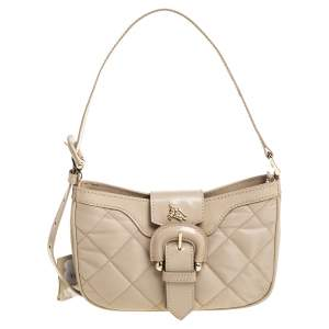 Burberry Beige Quilted Nylon and Patent Leather Sophie Small Shoulder Bag