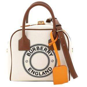Burberry White/Brown Canvas And Leather Small Cube Bag