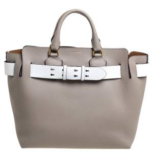 Burberry Grey/White Grained Leather Large Belted Tote