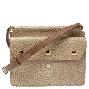 Burberry Beige Printed Leather Baby Title Pocket Crossbody Bag