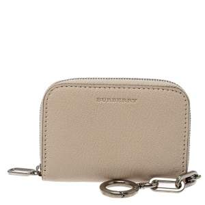 Burberry Beige Leather Berkely Zip Card Holder