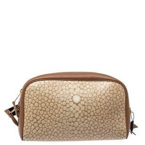 Burberry Beige Leather Cube Bumbag