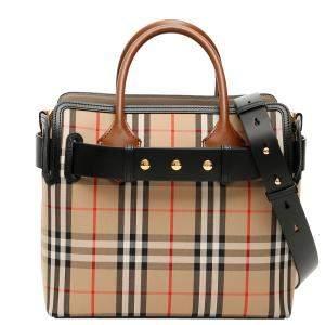حقيبة حزام بربري ترصيع ثلاثي كانفاس كاروهات فينتدج متعددة الألوان