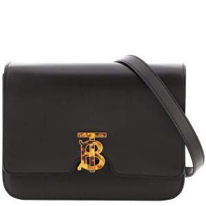 Burberry Black Leather TB Medium Crossbody Bag