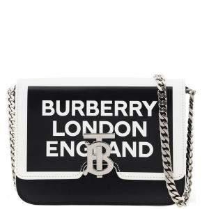 Burberry Black/White Leather Tb Logo Crossbody Bag