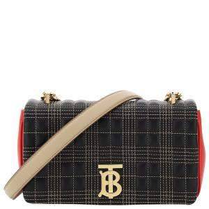 Burberry Black/Red Quilted Lambskin Leather Lola Bag