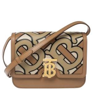 Burberry Tri Color Tb Monogram Leather Small Shoulder Bag