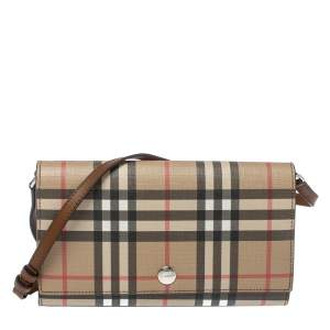 Burberry Beige Vintage Check Pvc and Leather Hannah Wallet On Chain