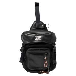 Burberry Black Leather and Nylon Leo Belt Pack Bag
