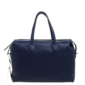 Burberry Regency Blue Leather Lawrence Holdall Weekend Bag