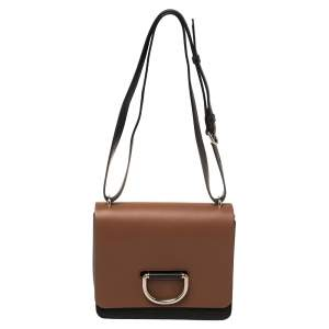 Burberry Black/Brown Leather Small D-Ring Shoulder Bag
