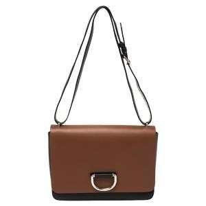 Burberry Black/Brown Leather Medium D-Ring Shoulder Bag