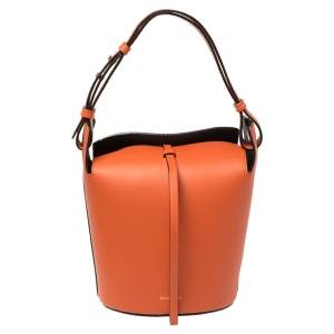 Burberry Orange Leather Small Bucket Bag