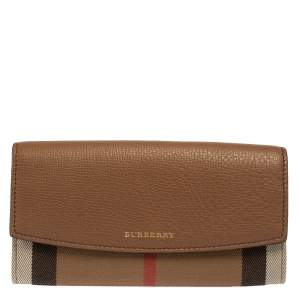 Burberry Brown House Check Canvas and Leather Porter Continental Wallet