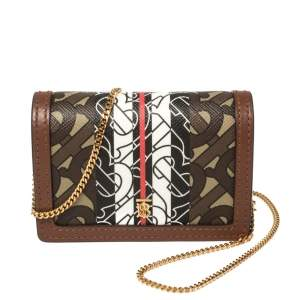 Burberry Brown TB-Print Coated Canvas and Leather Crossbody Bag