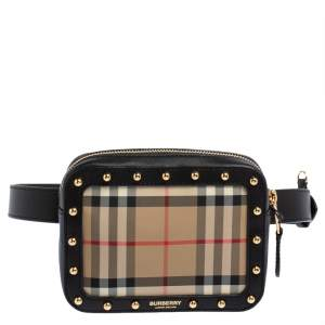 Burberry Beige/Black Nova Check Canvas and Leather Studded Elise Belt Bag
