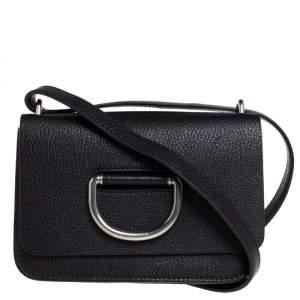 حقيبة كروس بربري صغيرة حلقة حرف دي جلد أسود