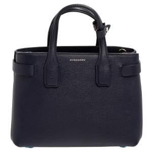 حقيبة يد بربري بانير صغيرة جلد أزرق