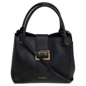 Burberry Black Grained Leather Medium Buckle Tote