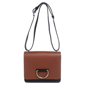 Burberry Brown/Black Leather Small D-Ring Shoulder Bag