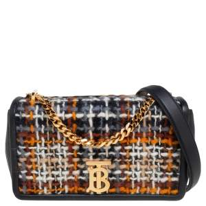 Burberry Black Tweed and Leather Small Lola Chain Shoulder Bag