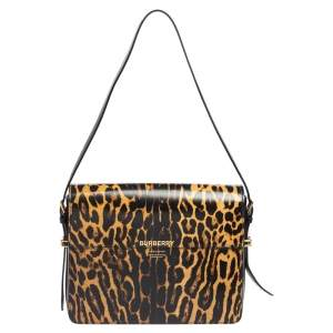 Burberry Black/Yellow Animal Print Glossy Leather Large Grace Shoulder Bag