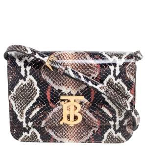 Burberry Brown Python Effect Glossy Leather Small TB Shoulder Bag