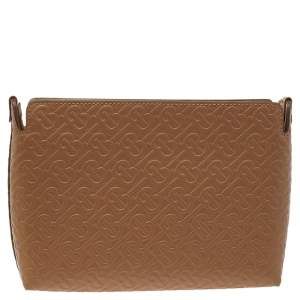 Burberry Beige Monogram Leather Oxblood Ladies Clutch