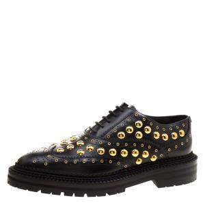 Burberry Black Leather Deardown Studded Platform Oxfords Size 38