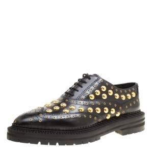 حذاء أكسفوردز بربري ديرداون بنعل سميك جلد مرصع أسود مقاس 38