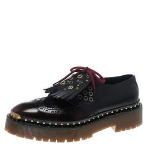حذاء بربري دربي نعل سميك أربطة تفاصيل شراشيب بيست جلد بروغي لونين مقاس 40