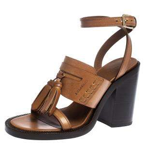 Burberry Brown Leather Bethany Tassel Detail Block Heel Sandals Size 37