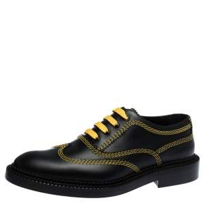 Burberry Black Leather Triple Stitch Bertram Lace Up Oxfords Size 40