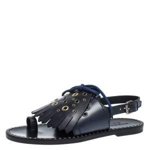 Burberry Navy Blue Leather Kiltie Fringe Eyelet Detail Flat Sandals Size 37