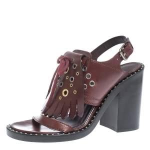 Burberry Burgundy Leather Beverley Eyelet Fringe Detail Block Heel Sandals Size 37