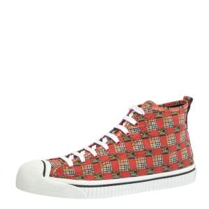 Burberry Red Canvas Kingly Print High Top Sneakers Size 45