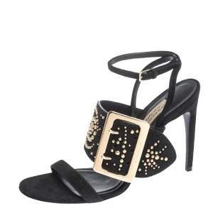 Burberry Black Suede Stud Embellished Padstow Ankle Wrap Sandals Size 40