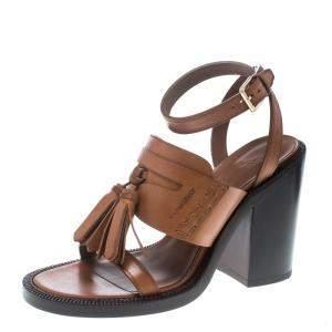 Burberry Cognac Brown Leather Bethany Tassel Detail Block Heel Sandals Size 40
