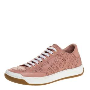 Burberry Pink Perforated Leather Timsbury Low Top Sneakers Size 39.5